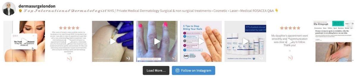 Dr Injibar Dermasurge London Instagram account